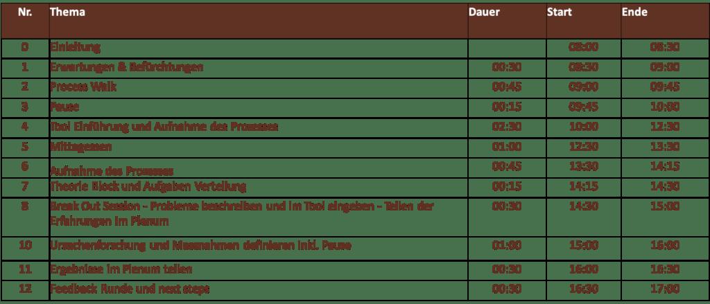 Agenda; Prozess Analyse; Tagesworkshop; www.prozessraum.ch
