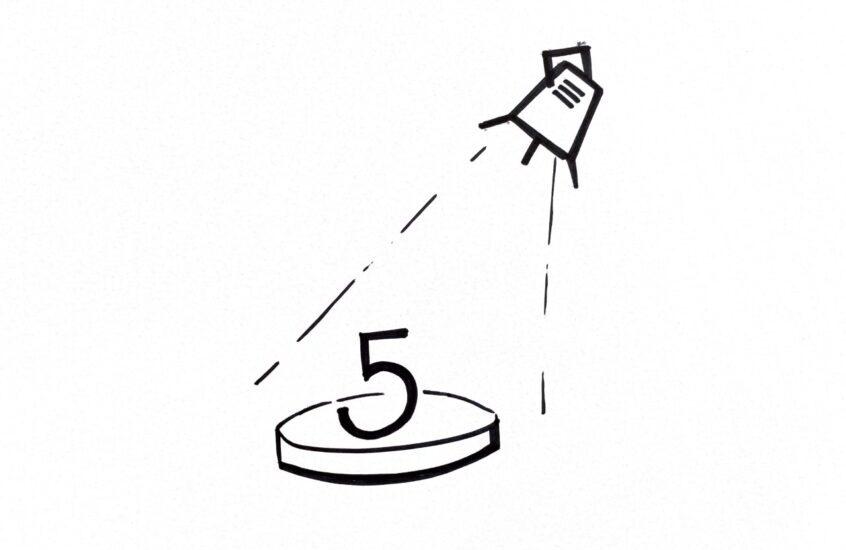 Skizziertes Scheinwerfer scheint auf die Zahl 5, welche auf einem Podest steht - Sinnbildich für die 5 Linsen