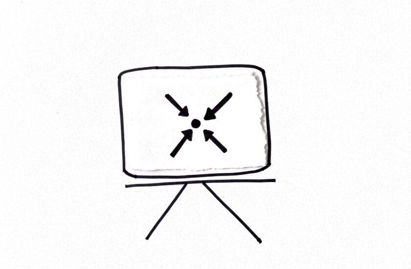 Skizziertes Whitebard mit Meeting Symbol