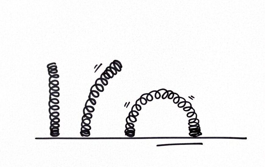 Skizze zum Thema agile Teams - drei Sprungfedern, unterschiedlich gebogen