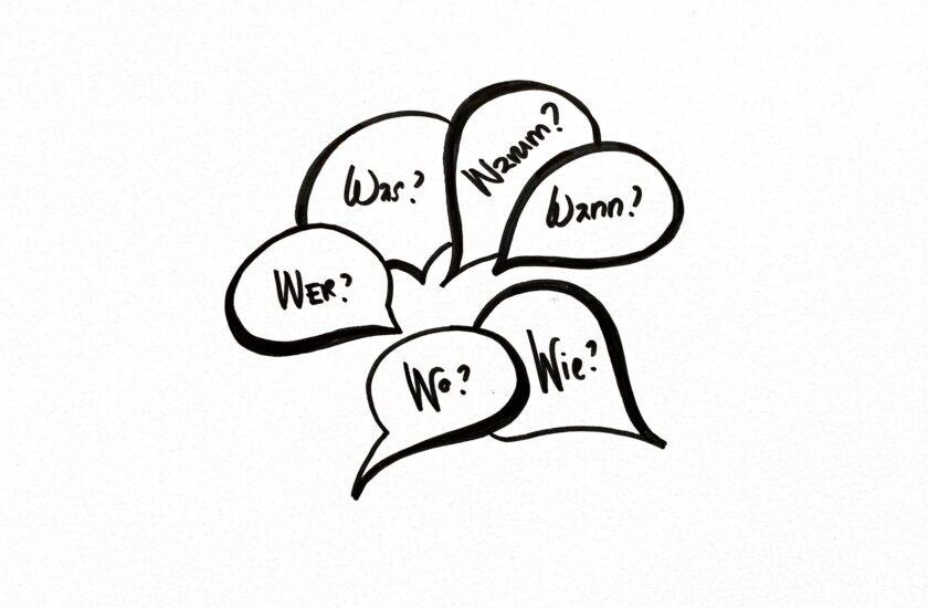 Sechs skizzierte Sprechblasen mit den Fragen Wer, Was, Wie, Wo, Wann und Warum als Symbol für die 6W-Fragetabelle