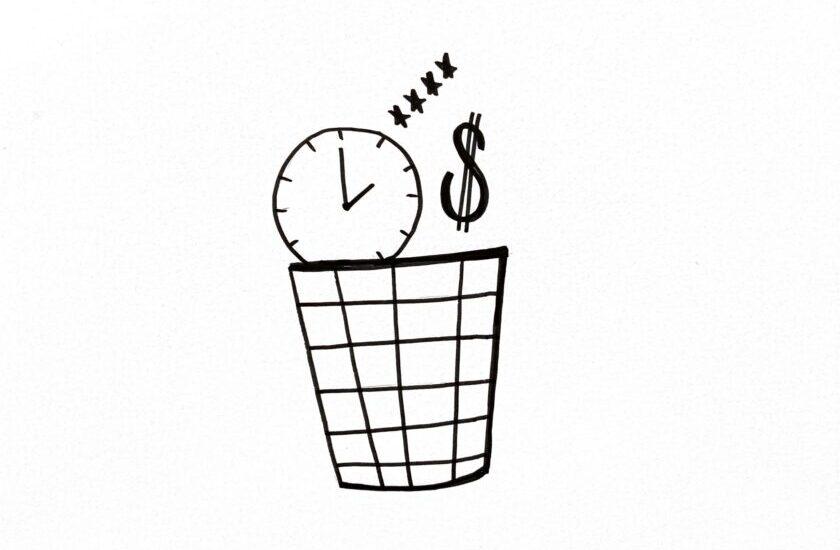 Skizzierter Abfalleimer in den eine Uhr, ein Dollarzeichen und eine 4-Sterne-Bewertung fallen als Symbol für Waste vermeiden mittels Value Stream Mapping