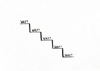 """Skizzierte Treppenstufen, auf jeder steht """"Why?"""" als Symbol für die 5 Why Methode"""