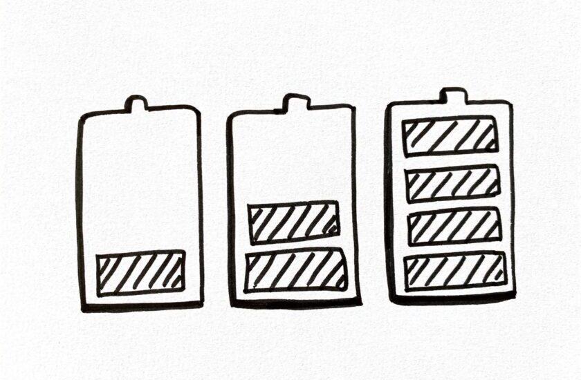 Skizzierte Batterien mit unterschiedlichem Ladestand als Symbol für das Kapazitätsmanagement