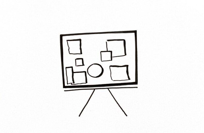 Skizziertes Whiteboard mit Collagenbilder als Symbol für den Collagen-Workshop