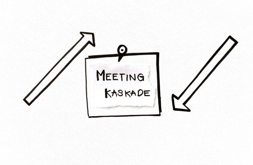 Skizziertes Post it mit der Aufschrift Meeting Kaskade, links ein Pfeil nach oben, rechts ein Pfeil nach unten