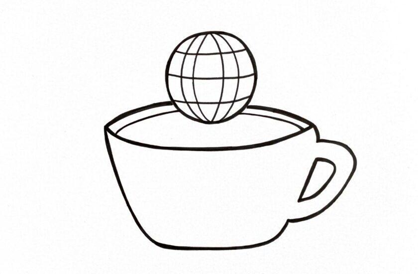 Skizzierte Kaffeetasse über der eine Erdkugel schwebt als Symbol für die World Café Methode